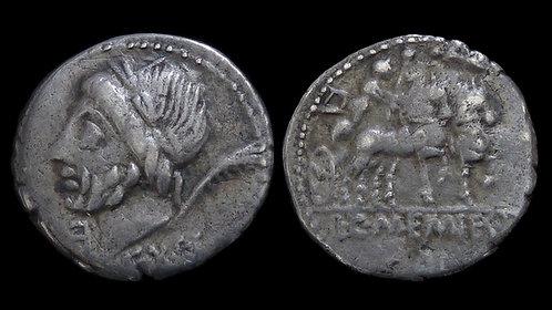 ROMAN REPUBLIC . L. & C. Memies L. F. Galeria, 87 BC . AR Denarius . Saturn