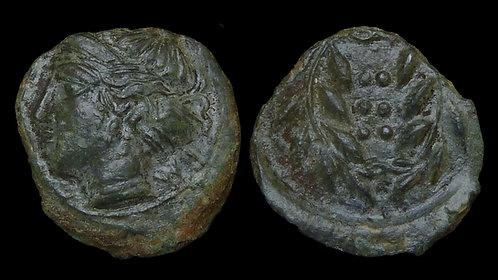 SICILY, Himera . Circa 415-409 BC . AE Hemilitron . Nymph
