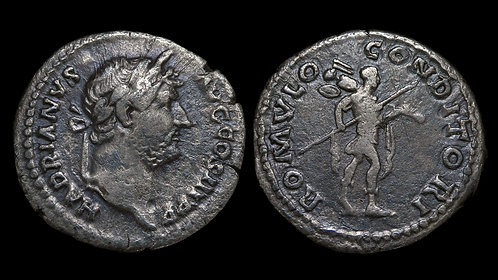 HADRIAN . AD 117-138 . AR Denarius . Romulus the Founder; type unique to Hadrian