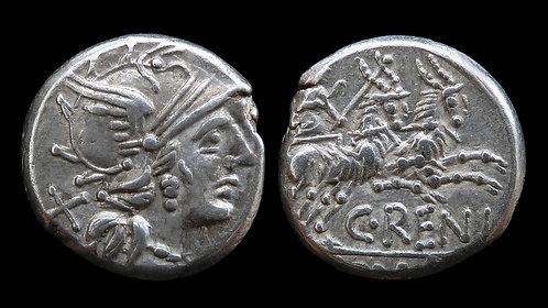 ROMAN REPUBLIC . C Renius, 138 BC . Denarius . Juno's Biga of Goats