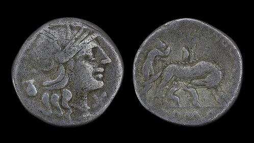 ROMAN REPUBLIC . S Pompeius Fostlus, 137 BC . Denarius . Founding myth type