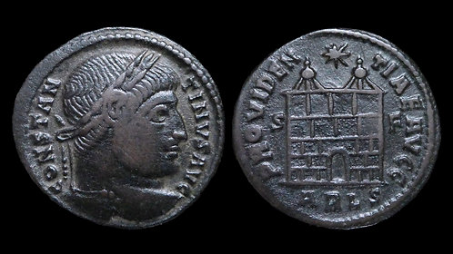 CONSTANTINE I . AD 306-337 . AE3 . Campgate . Arles mint
