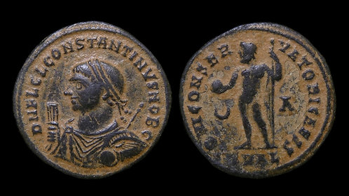CONSTANTINE II, as Caesar . AD 316-337 . AE Follis . Rare and beautiful