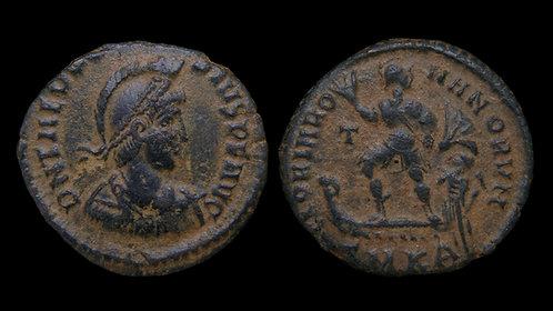 "THEODOSIUS I . AD 379-395 . AE2 . ""GLORIA ROMANORVM"" . Larger-sized LRB"