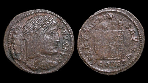 CONSTANTINE I . AD 306-337 . AE3 . Open-door Campgate . *Rotated doublestrike*