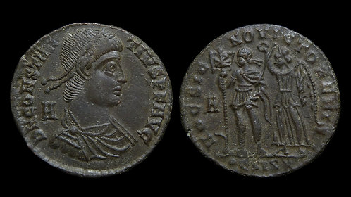 "CONSTANTIUS II . AD 337-361 . AE2 . ""By this sign you will be victorious"""