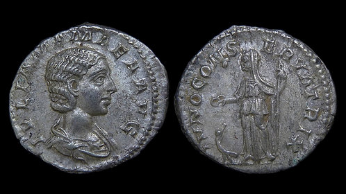JULIA MAMAEA . AD 222-235 . Denarius . Mother of Severus Alexander **Pedigreed**