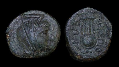BOEOTIA, Thespiae . Circa 210 BC . AE16 . Ptolemaic Queen Arsinoë . Ex Obolos 4