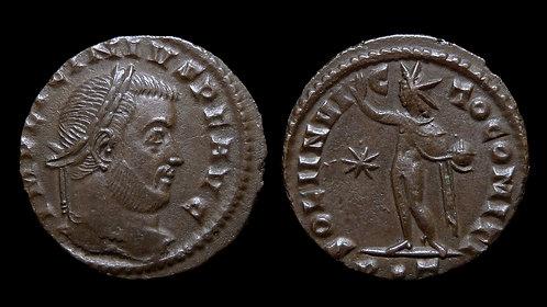 """LICINIUS I . AD 308-324 . Follis . """"Sol standing"""" . Ticinum, Rated R5"""