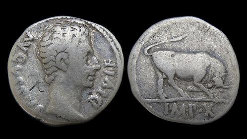 AUGUSTUS . 27 BC - AD 14 . AR Denarius . Victory of Augustus's biological father