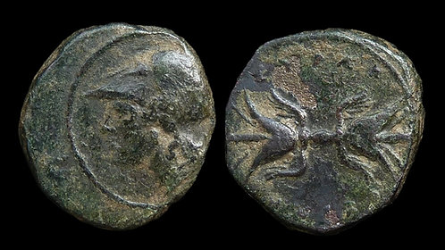 SICILY, Syracuse . Agathokles,  317-289 BC . AE Trias . Thunderbolt . Scarce