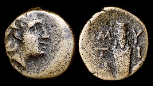 LESBOS, Mytilene . 3rd-2nd centuries BC . AE15 . Herm of Dionysos