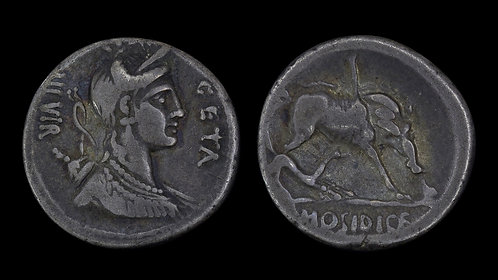 ROMAN REPUBLIC . C Hosidius Geta, 64 BC . Denarius . Calydonian Boar