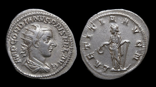 GORDIAN III . AD 238-244 . AR Antoninianus . Laetitia, Goddess of Happiness
