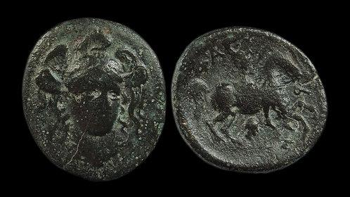 THESSALY, Pharsalos . Circa 4th - 3rd centuries BC . AE Trichalkon . Horseman