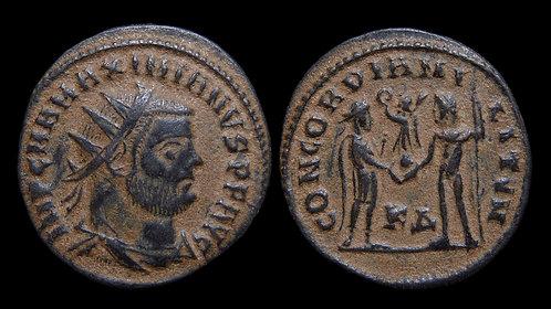 """MAXIMIANUS . AD 286-305 . Radiatus . """"CONCORDIA MILITVM"""" . Cyzicus"""