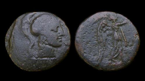 MYSIA, Pergamon . 2nd Century BC . AE18 . Athena / Nike