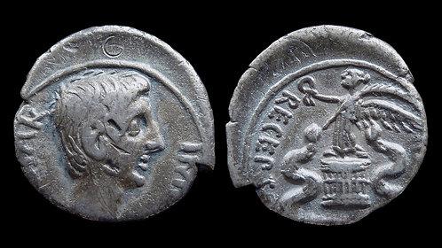 """AUGUSTUS . 27 BC - AD 14 . Quinarius . """"ASIA RECEPTA"""""""
