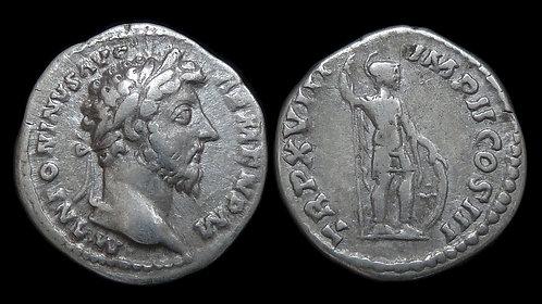 MARCUS AURELIUS . AD 161-180 . AR Denarius . Mars, the War God