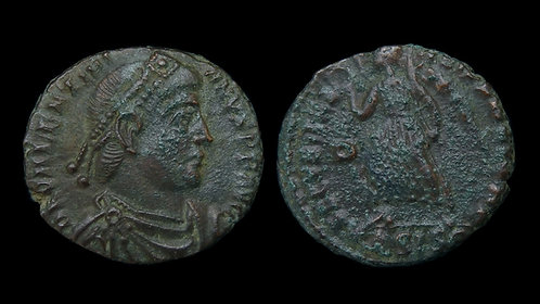 VALENTINIAN I . AD 364-375 . AE3 . Victory advancing left