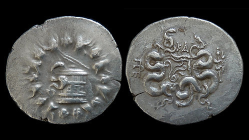 MYSIA, Pergamon . Circa 166-67 BC . AR Cistophoric Tetradrachm . Cista Mystica
