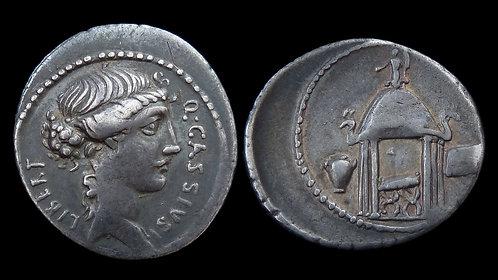 ROMAN REPUBLIC . Q Cassius Longinus, 55 BC . AR Denarius . **Pedigreed to 1969**