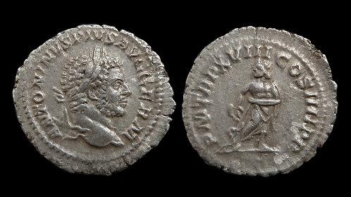 """CARACALLA . AD 198-217 . Denarius . """"Aesculapius, God of Medicine"""""""