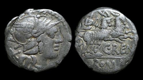 ROMAN REPUBLIC . C Renius, 138 BC . AR Denarius . Juno's Biga of Goats