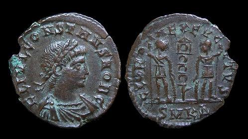 """CONSTANS, as Caesar . AD 333-337 . AE4 . """"GLORIA EXERCITVS"""" . Cyzicus"""
