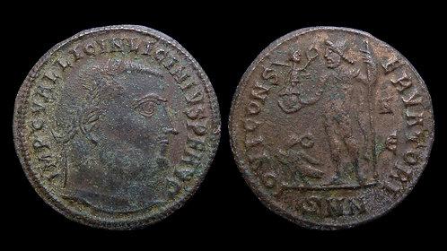 "LICINIUS I . AD 308-324 . Follis . ""Jupiter standing"" . Nicomedia"
