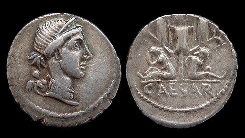 """JULIUS CAESAR . 49-44 BC . Denarius . """"Gallic trophy and captives"""""""