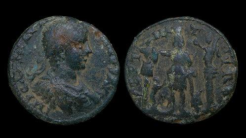 ELAGABALUS . PHOENICIA, Tyre . AE30 . Astarte, Goddess of War and Fertility