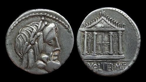 ROMAN REPUBLIC . M Volteius, 75 BC . Denarius . Temple of Jupiter Capitolinus