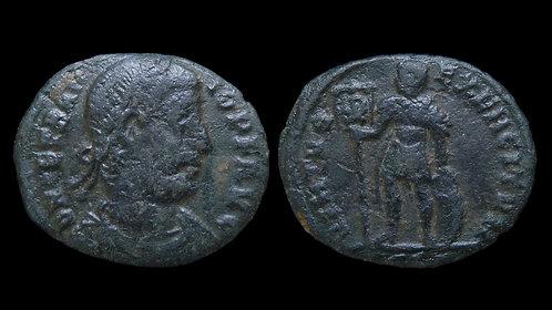 "VETRANIO . AD 350 . AE3 . ""Emperor standing with Standard"" . Thessalonica"