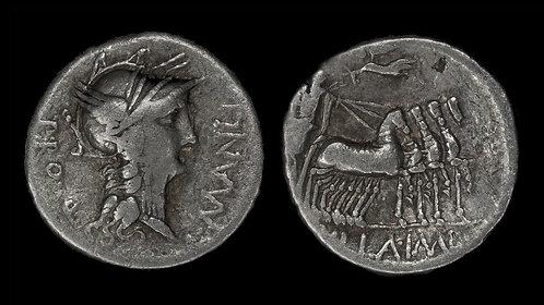 ROMAN REPUBLIC . L Manlius Torquatus, 82 BC . Denarius . Sulla's Triumph