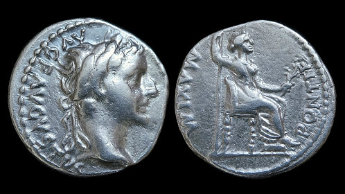 "TIBERIUS . AD 14-37 . AR Denarius . ""Tribute Penny of the Bible"""