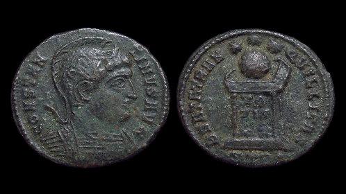 CONSTANTINE I . AD 306-337 . AE3 . BEATA TRANQVILLITAS . Helmeted bust