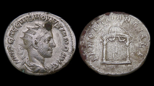 VOLUSIAN . AD 251-253 . AR Antoninianus . Temple of Juno Martialis