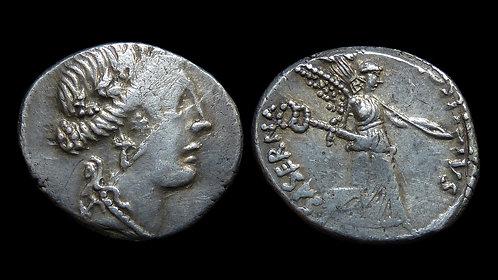 IMPERATORIAL . L Hostilius Saserna, 48 BC . Denarius . Victory