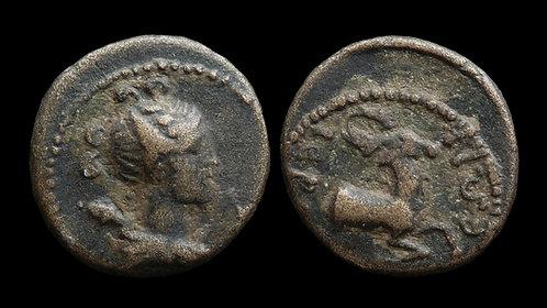 PSEUDO-AUTONOMOUS . LYDIA, Hierocaesarea . 1st century AD . AE17 . Artemis/Stag