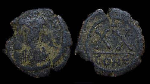 BYZANTINE EMPIRE . Tiberius II Constantine, AD 578-582 . AE Half-Follis