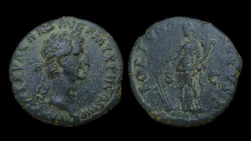 NERVA . AD 96-98 . AE As . Fortuna, Goddess of Fortune