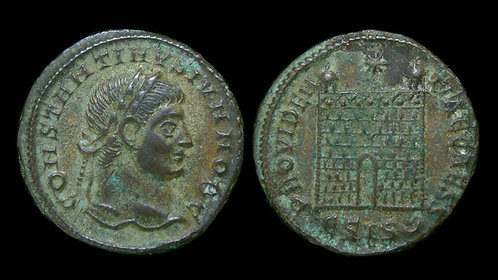 CONSTANTINE II, as Caesar . AD 316-337 . AE3 . Campgate . Siscia