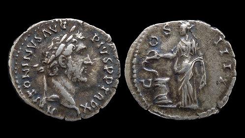 ANTONINUS PIUS . AD 138-161 . Denarius . Salus, Goddess of Health