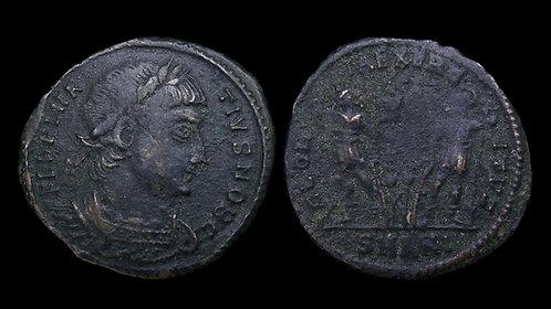 """DELMATIUS, Caesar . AD 335-337 . AE3 . """"GLORIA EXERCITVS"""" . Antioch"""