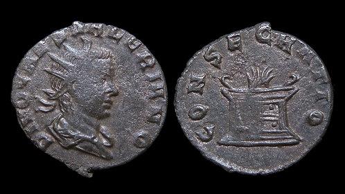 """VALERIAN II, Caesar . AD 256-258 . Antoninianus . """"Consecratio Altar"""""""