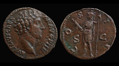 """MARCUS AURELIUS, as Caesar . AD 138-161 . As . """"Virtus"""" . Scarce"""