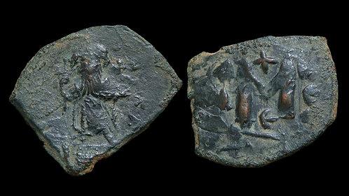BYZANTINE EMPIRE . Constans II, AD 641-668 . AE Follis . Constantinople