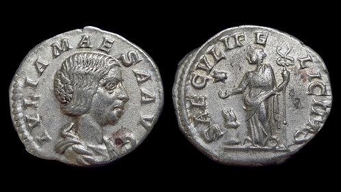 JULIA MAESA . AD 218-225 . AR Denarius . Grandmother of Elagabalus . *Pedigreed*