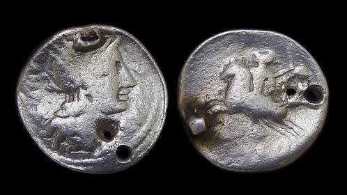 ROMAN REPUBLIC . M Sergius Silus, 116/5 BC . Denarius, holed . Hero Silus